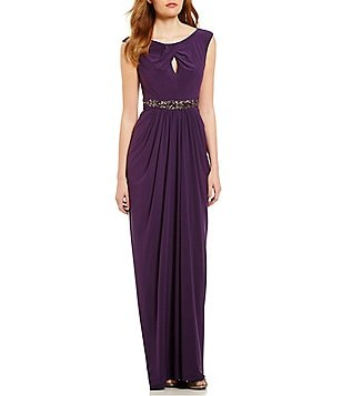 Adrianna Papell Petite Keyhole Jersey Embellished Gown