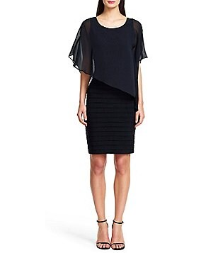 Adrianna Papell Petite Chiffon Overlay Banded Dress