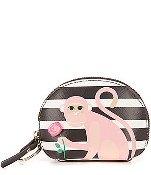 kate spade new york Rambling Roses Collection Striped Monkey with Rose Dumpling Coin Purse