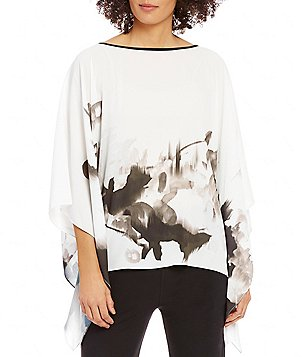 IC Collection Poncho Style 3/4 Sleeve Top