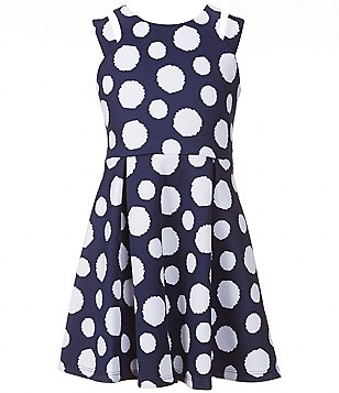 My Michelle Big Girls 7-16 Dot Print Double-Strap Skater Dress