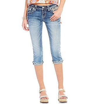 Miss Me Embellished Pocket Stretch Jean Capris