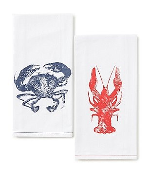 Southern Living Flour Sack Lobster & Crab Kitchen Towel Pair