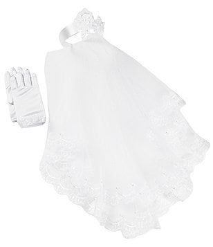 Bonnie Jean Communion Lace Veil & Satin Gloves Set