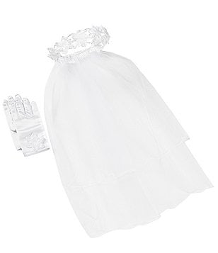 Bonnie Jean Communion Veil & Satin Gloves Set