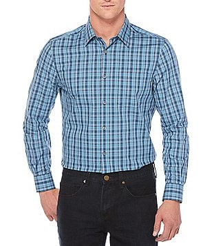 Perry Ellis Non-Iron Plaid Stretch Woven Long-Sleeve Shirt