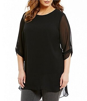 Vince Camuto Plus Roll Tab 3/4 Sleeve Chiffon Overlay Blouse
