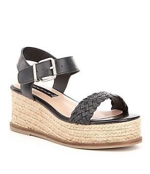 Steven by Steve Madden Sabble Leather Buckle Banded Platform Espadrille Sandals