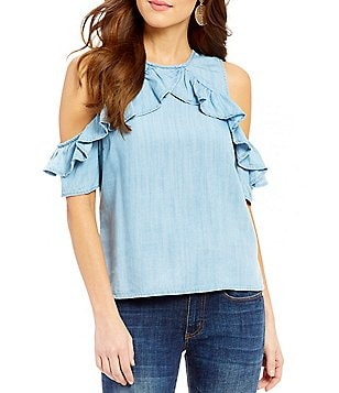 RD Style Ruffle Cold Shoulder Chambray Top