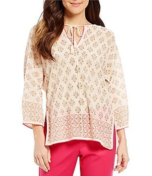 Sigrid Olsen Signature Double Print Kurta Top