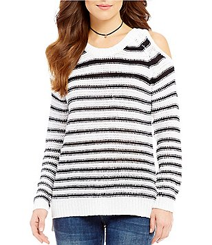 RD Style Striped Crew Neck Cold Shoulder Sweater