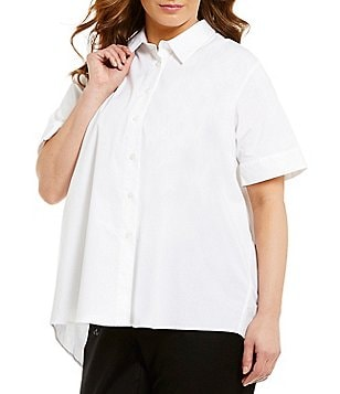 Vince Camuto Plus Elbow Sleeve Oversized Button Down Shirt