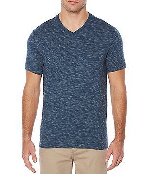 Perry Ellis Space Dye Short-Sleeve V-Neck Tee