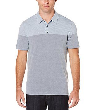 Perry Ellis Jacquard Two-Tone Short-Sleeve Polo Shirt