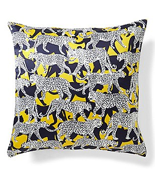 kate spade new york Cheetah Silk & Cotton Square Feather Pillow