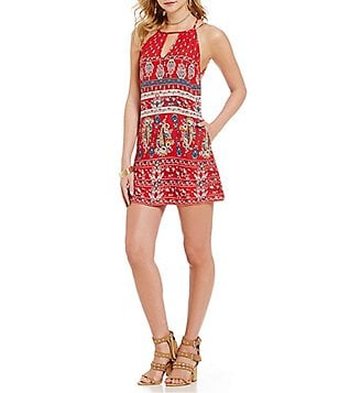 Band Of Gypsies Printed Crochet Shift Dress