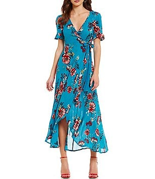 Band Of Gypsies Floral Print Wrap Maxi Dress
