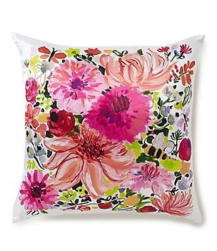 kate spade new york Dahlia Floral Silk & Cotton Square Feather Pillow