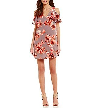 Sugarlips Floral Print Cold Shoulder Sheath Dress