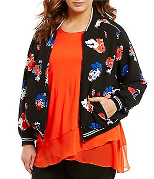 Vince Camuto Plus Travelling Bloom Printed Zip-Front Bomber Jacket