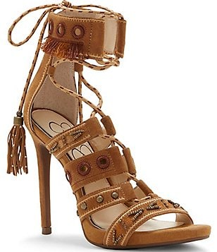 Jessica Simpson Roona Suede Embroidered Studded Beaded Lace-Up Dress Sandals