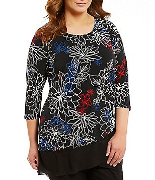 Vince Camuto Plus 3/4 Sleeve Floral Coastline Layered Top