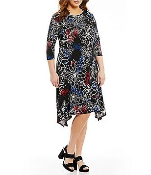 Vince Camuto Plus 3/4 Sleeve Floral Coastline Sharkbite Hem Dress