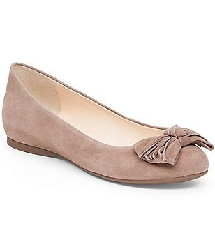 Jessica Simpson Madian Suede Bow & Fringe Slip-On Ballet Flats