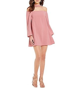 Sugarlips Off-the-Shoulder Choker Bell Sleeve Shift Dress