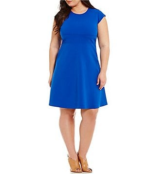 Vince Camuto Plus Cap Sleeve Fit-and-Flare Seamed Dress