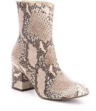 Free People Cecile Leather Snake Print Block Heel Mid Calf Booties