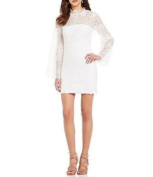 Sugarlips Mock Neck Bell Sleeve Lace Dress