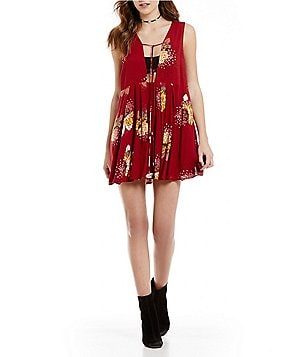 Free People Lovely Day Printed V-Neck Tunic Dress