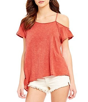 Free People Coraline Scoop Neck Cold Shoulder Tee