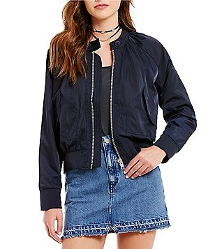 Free People Midnight Crew Neck Bomber Jacket