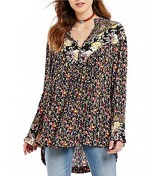 Free People Wildflower Fields Button Down Collar Bell Sleeve Printed Tunic