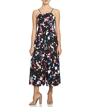 1. STATE Sleeveless Pleat Front Printed Crepe Jumpsuit