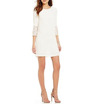 French Connection Ensor Crepe Lace Bell Sleeve Shift Dress