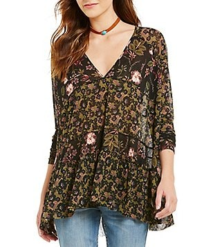 Free People Isabelle V-Neck Long Sleeve Printed Tunic