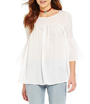 French Connection Scoop Neck Bell Sleeve Tunic