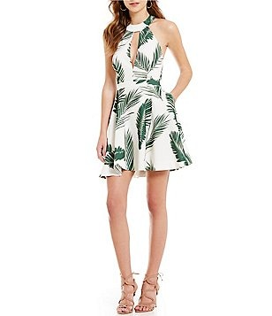 C/MEO Witness Palm Print Fit-and-Flare Dress
