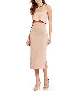 C/MEO Like This Strapless Midi Dress