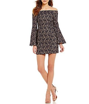 Keepsake Too Soon Off-the-Shoulder Bell Sleeve Lace Mini Dress