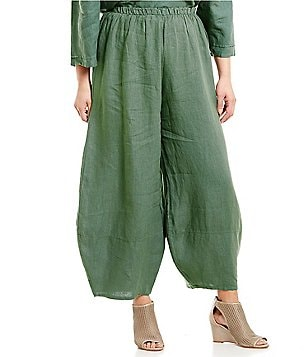 Bryn Walker Plus Oliver Elastic Waist Wide Leg Light Linen Pants
