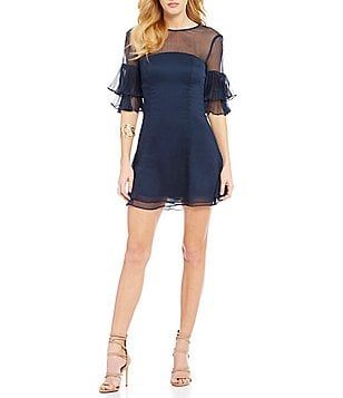 Keepsake Say You Will High Neck Ruffled Bell Sleeve Fit & Flare Mini Dress