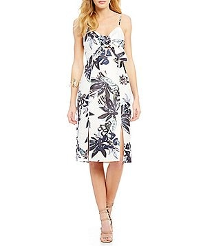 Keepsake Coming Home Tie Front Floral Printed Midi Dress
