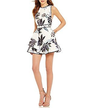 Keepsake Coming Home High Neck Sleeveless Floral Fit & Flare Mini Dress