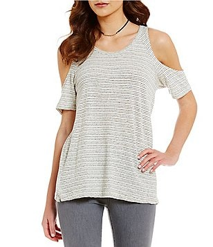 Sanctuary Lou Scoop Neck Cold-Shoulder Striped Tee