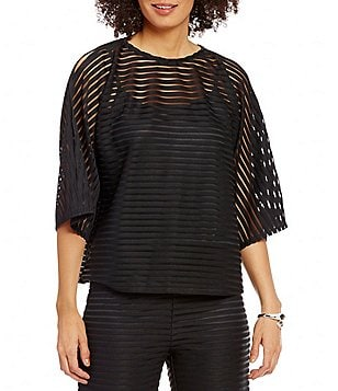 IC Collection Striped Sheer Boat Neck Top