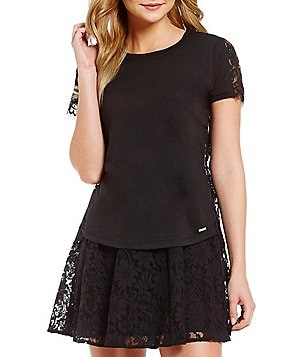 Armani Exchange Scalloped Lace Short Sleeve Tee
